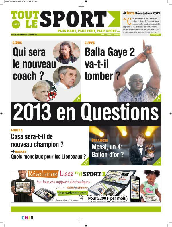 A la Une du Journal Toute Le Sport du mercredi 02 Janvier 2012