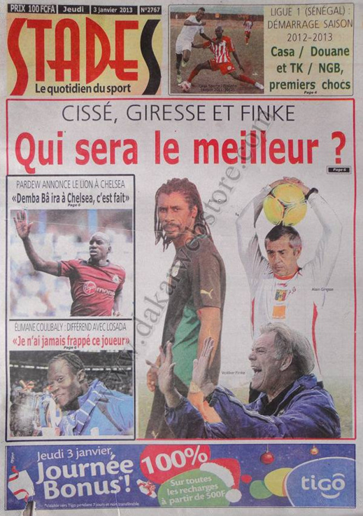A la Une du Journal Stades du jeudi 03 janvier 2012
