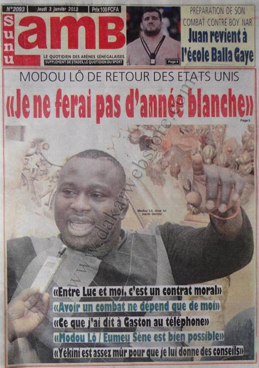 A la Une du Journal SunLamb du jeudi 03 janvier 2012
