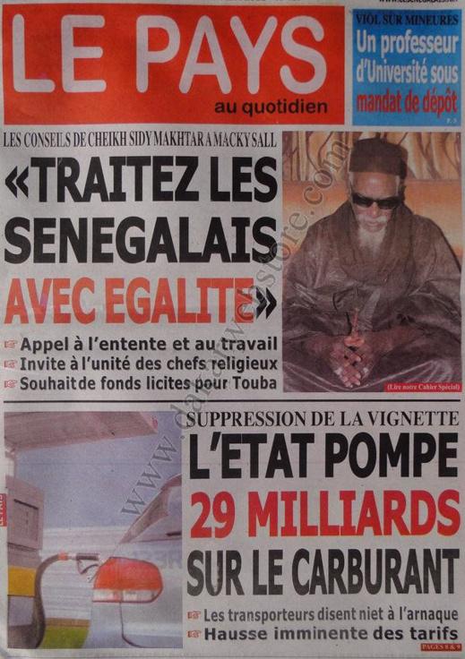 A la Une du Journal LE PAYS du jeudi 03 janvier 2012
