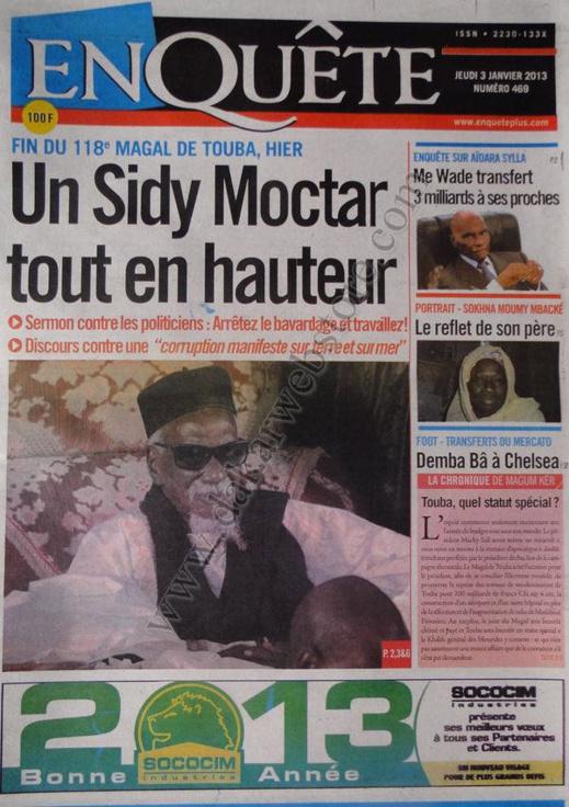 A la Une du Journal L'Enquête du jeudi 03 janvier 2013