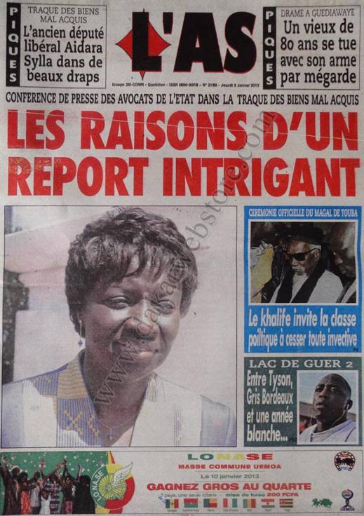 A la Une du Journal L'As du jeudi 03 janvier 2013
