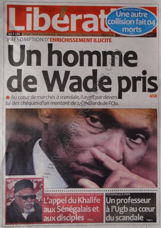 A la Une du Journal Libération du jeudi 03 janvier 2013