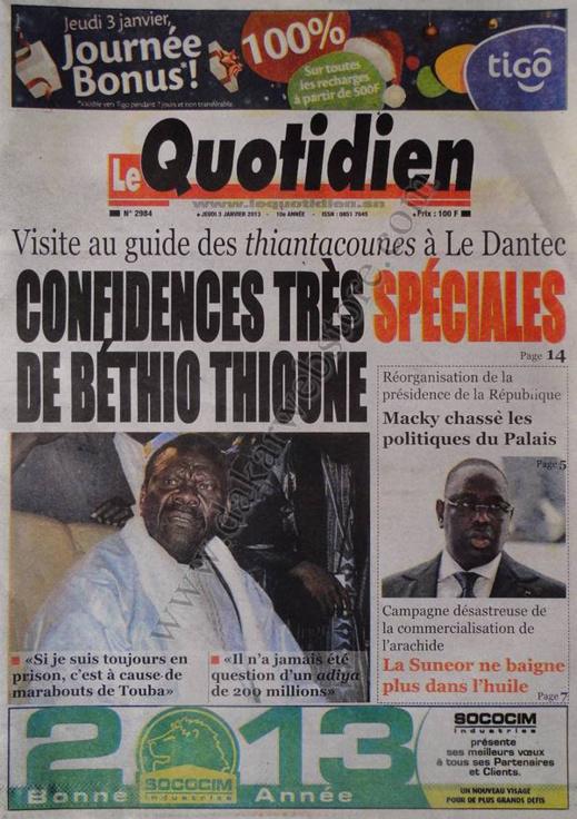 A la Une du Journal Le Quotidien du jeudi 03 janvier 2013