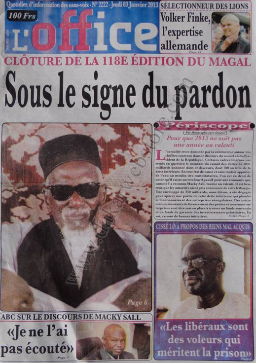 A la Une du Journal L'Office du jeudi 03 janvier 2013