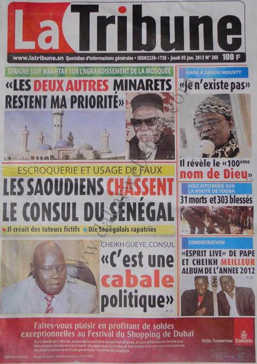 A la Une du Journal La Tribune du jeudi 03 janvier 2013