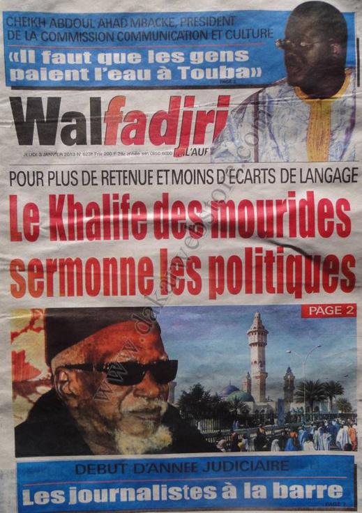 A la Une du Journal Walfadjri du jeudi 03 janvier 2013