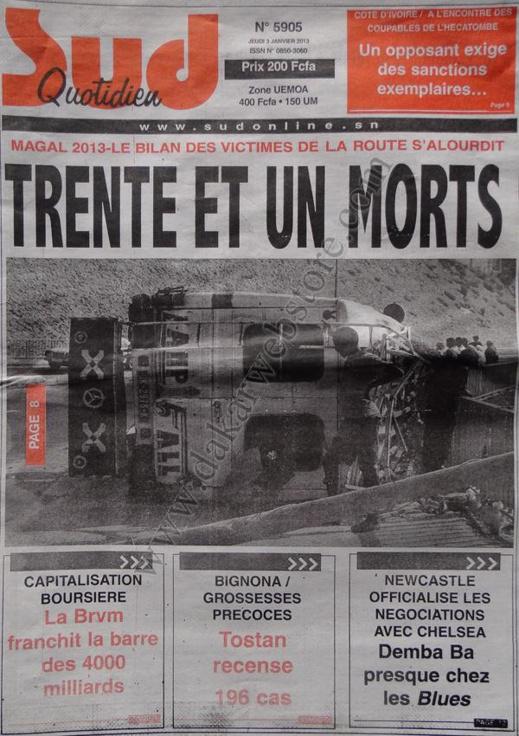 A la Une du Journal Sud Quotidien du jeudi 03 janvier 2013