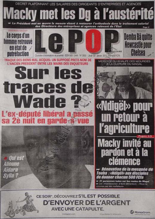 A la Une du Journal Populaire du jeudi 03 janvier 2013
