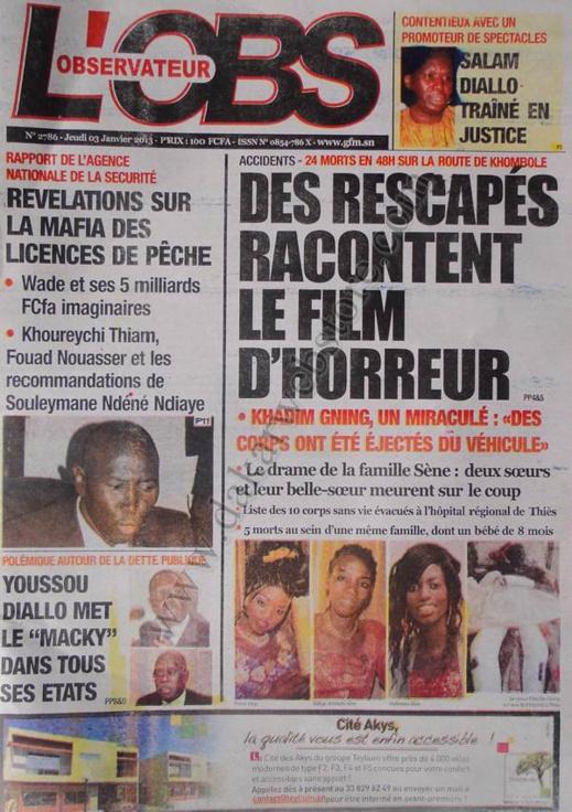 A la Une du Journal L'Observateur du jeudi 03 janvier 2013