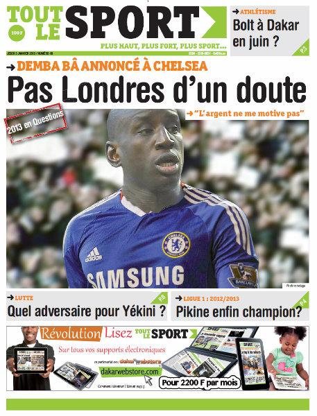 A la Une du Journal Tout Le Sport du jeudi 03 janvier 2013