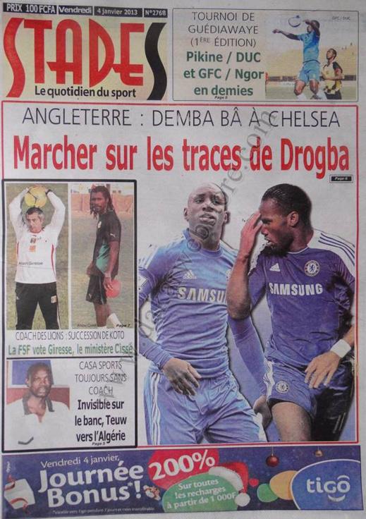 A la Une du Journal Stades du vendredi 04 janvier 2013