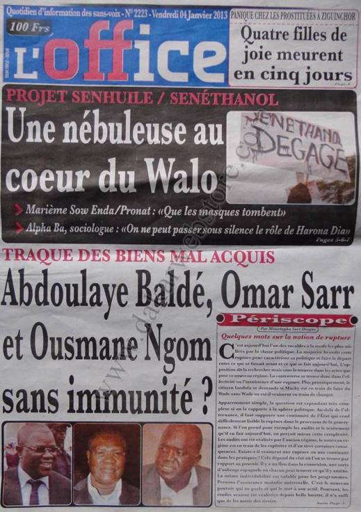 A la Une du Journal L'Office du vendredi 04 janvier 2013