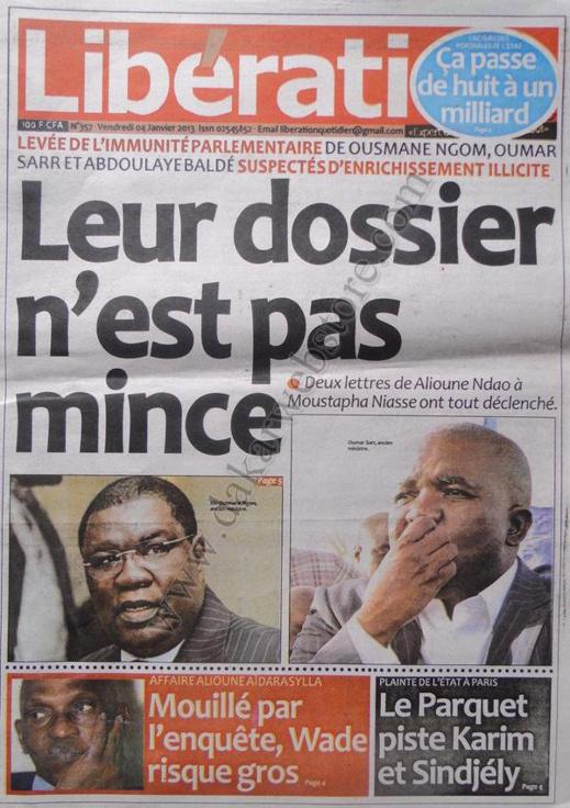 A la Une du Journal Libération du vendredi 04 janvier 2013