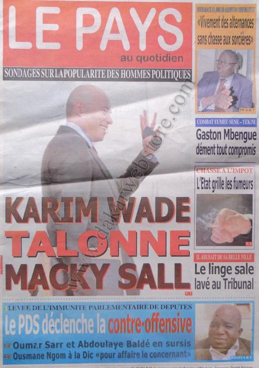 A la Une du Journal Le Pays du vendredi 04 janvier 2013