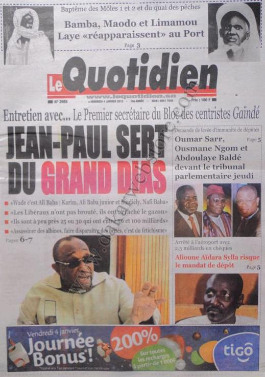 A la Une du Journal Le Quotidien du vendredi 04 janvier 2013