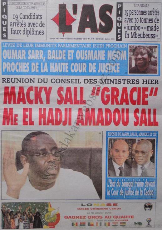A la Une du Journal L'As du vendredi 04 janvier 2013