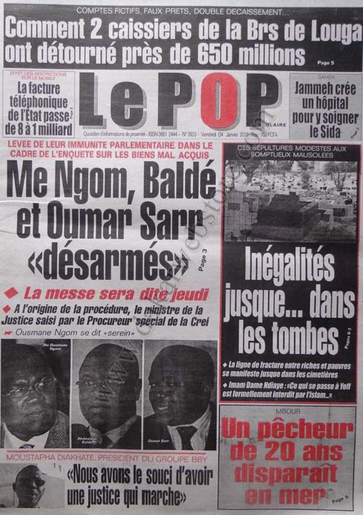 A la Une du Journal Le Populaire du vendredi 04 janvier 2013