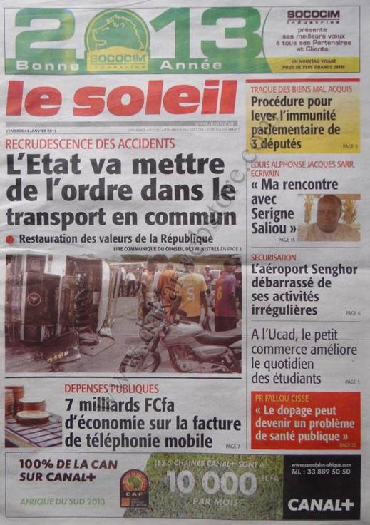 A la Une du Journal Le Soleil du vendredi 04 janvier 2013