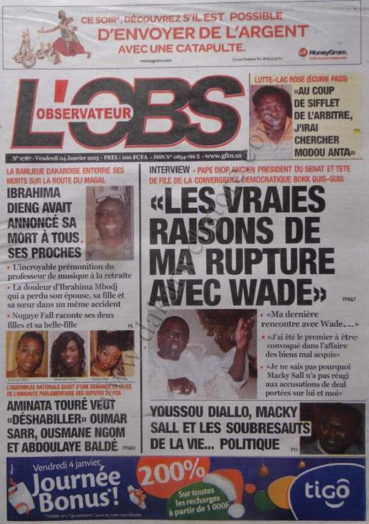 A la Une du Journal L'Observateur du vendredi 04 janvier 2013