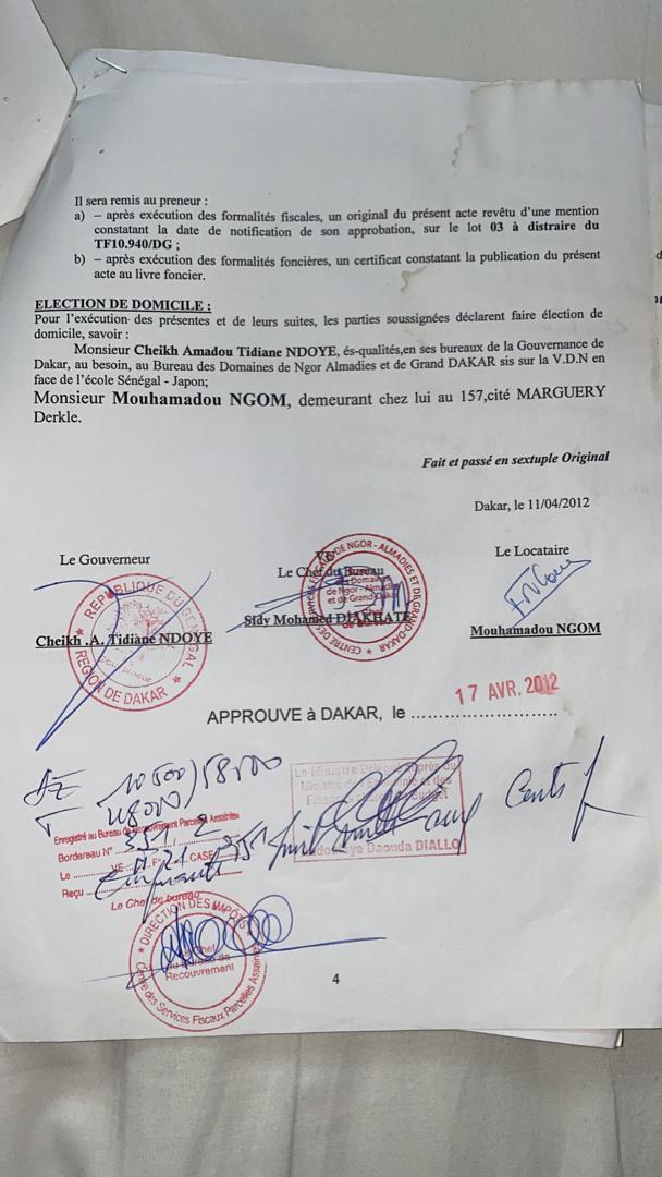 Accusé de spoliation foncière: Farba Ngom est légalement le propriétaire du terrain en cause