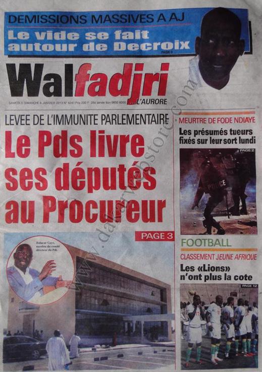 A la Une du Journal Walfadjri du Samedi 05 janvier 2013