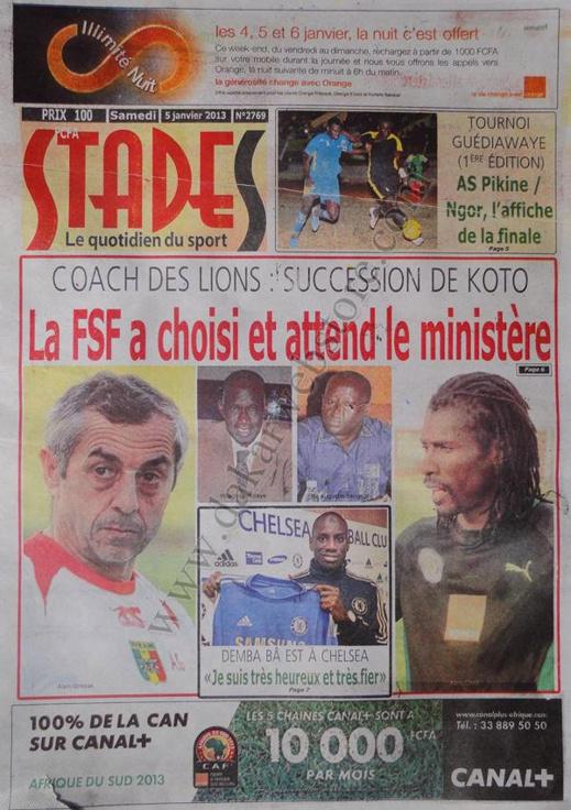 A la Une du Journal Stades du Samedi 05 janvier 2013