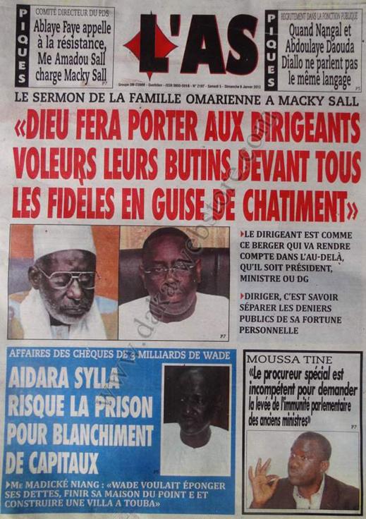 A la Une du Journal L'As du Samedi 05 janvier 2013
