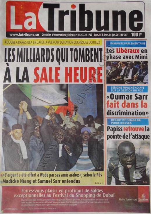 A la Une du Journal La Tribune du Samedi 05 janvier 2013