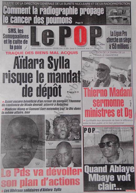 A la Une du Journal Populaire du Samedi 05 janvier 2013