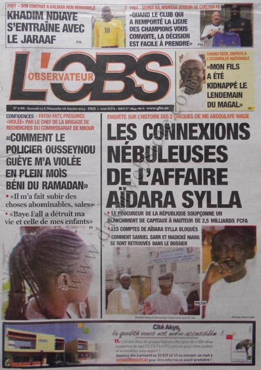 A la Une du Journal L'Observateur du Samedi 05 janvier 2013