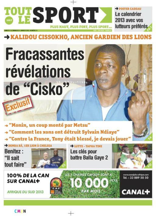 A la Une du Journal Tout Le sport du Samedi 05 janvier 2013