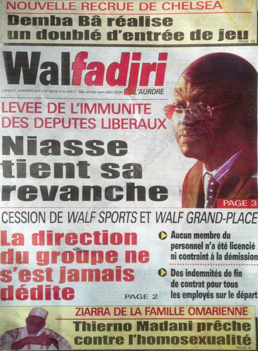 A la Une du Journal Walfadjri du lundi 07 janvier 2013