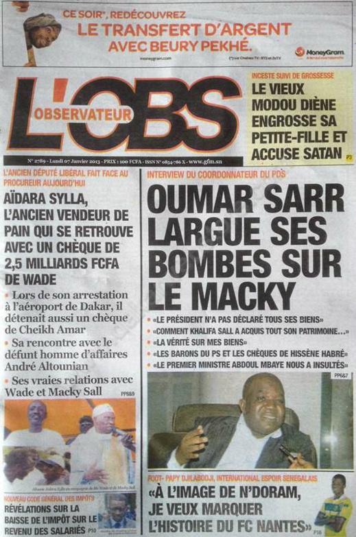A la Une du Journal Tout L'Observateur du lundi 07 janvier 2013