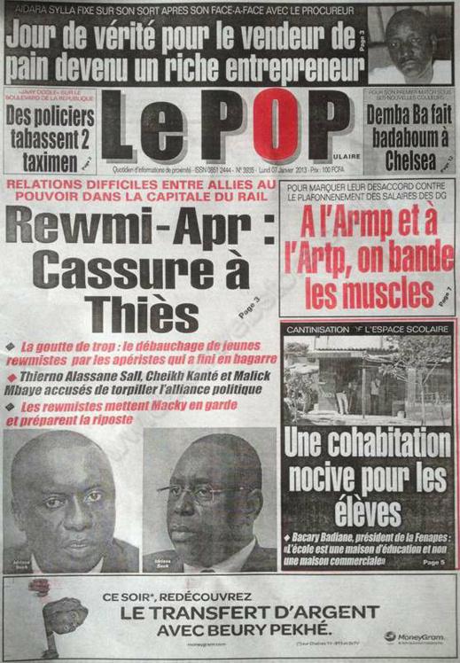 A la Une du Journal Le populaire du lundi 07 janvier 2013