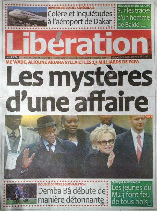 A la Une du Journal Libération du Samedi 05 janvier 2013