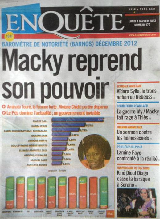 A la Une du Journal L'Enquête du lundi 07 janvier 2013