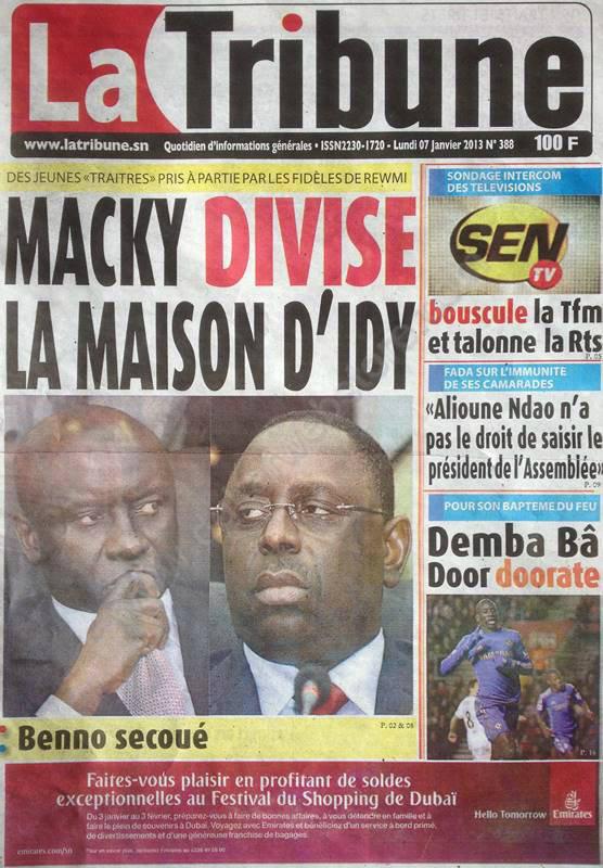 A la Une du Journal La Tribune du lundi 07 janvier 2013