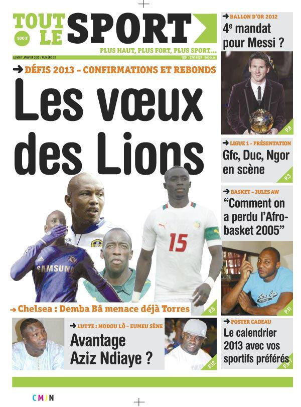 A la Une du Journal Tout Le Sport du Lundi 07 janvier 2013