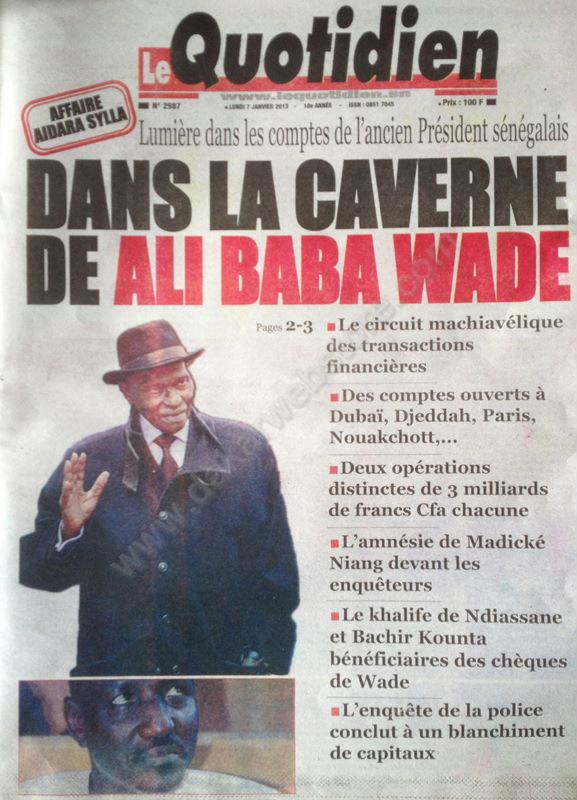 A la Une du Journal Le Quotidien du Samedi 05 janvier 2013