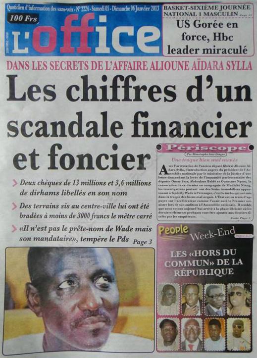 A la Une du Journal L'Office du mardi 08 janvier 2013