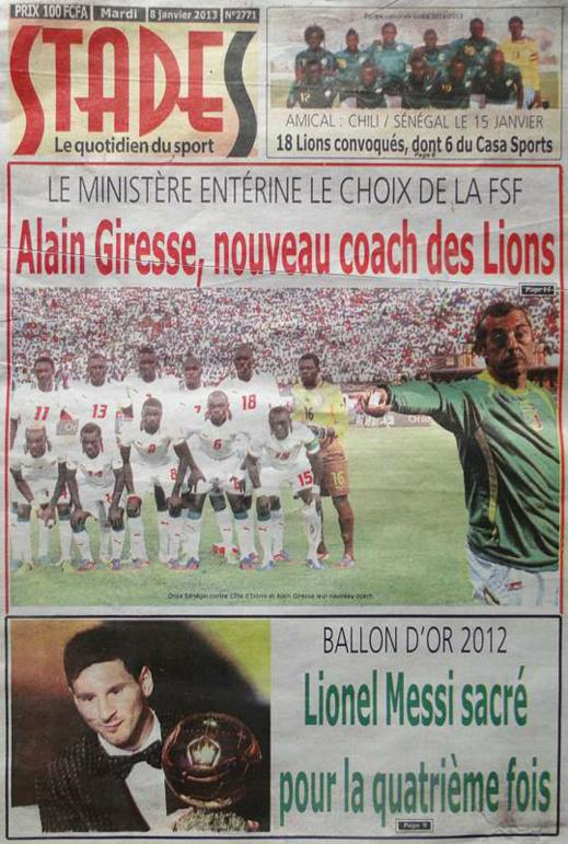 A la Une du Journal Stades du mardi 08 janvier 2013