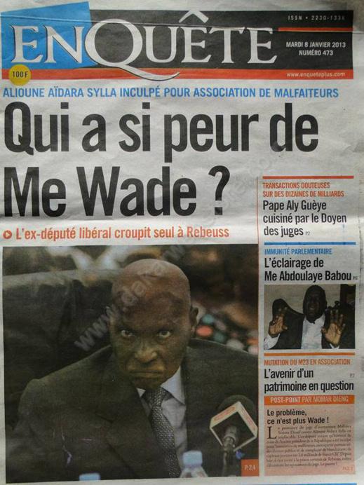 A la Une du Journal EnQuête du mardi 08 janvier 2013