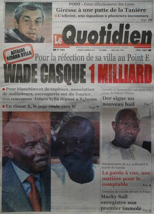 A la Une du Journal Le Quotidien du mardi 08 janvier 2013