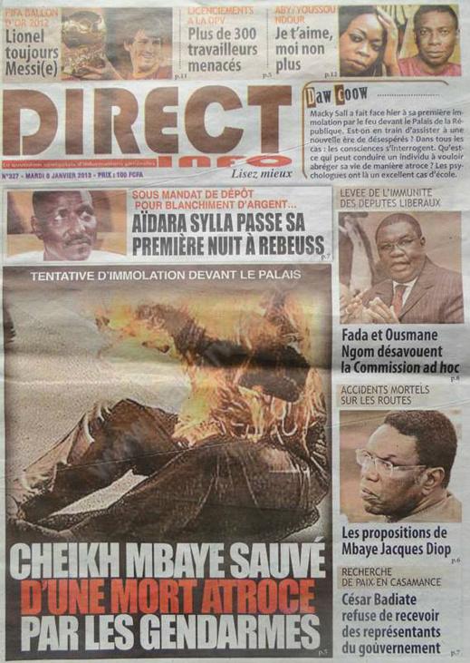 A la Une du Journal Direct info du mardi 08 janvier 2013