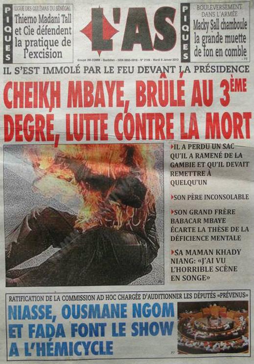 A la Une du Journal L'As du mardi 08 janvier 2013