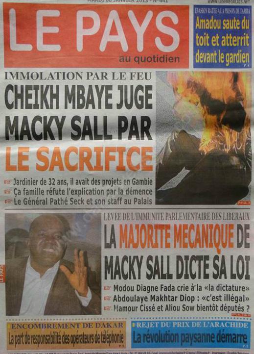 A la Une du Journal Le Pays du mardi 08 janvier 2013