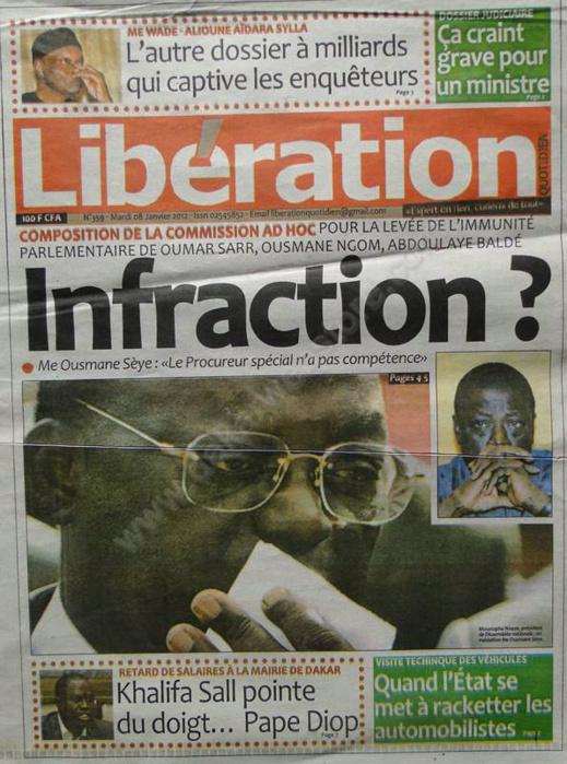 A la Une du Journal Libération du mardi 08 janvier 2013