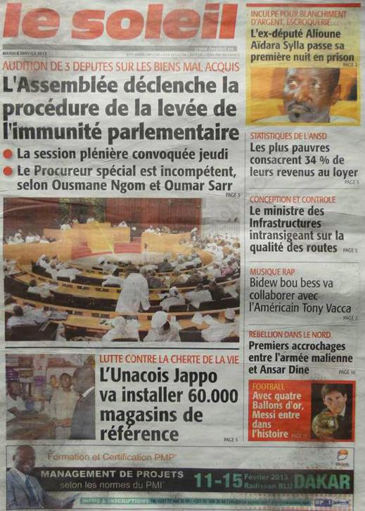 A la Une du Journal Le Soleil du mardi 08 janvier 2013