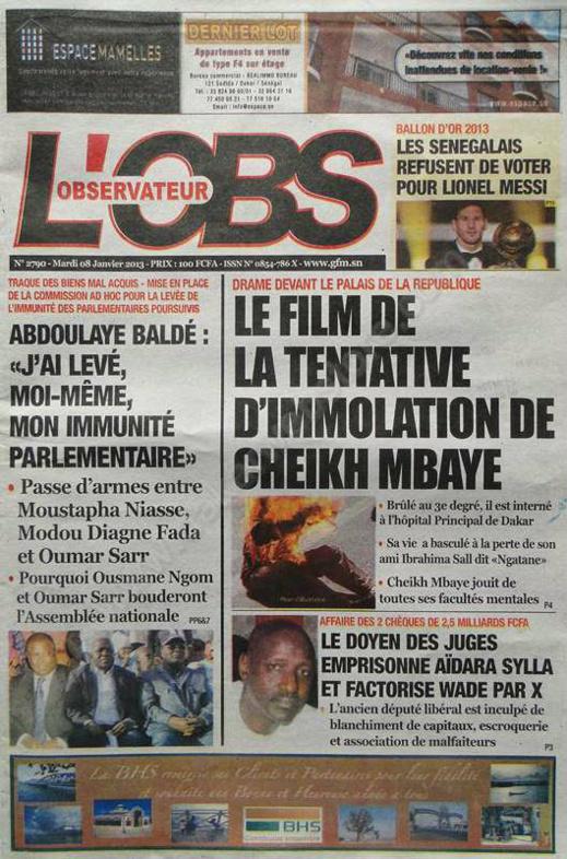 A la Une du Journal L'Observateur du mardi 08 janvier 2013